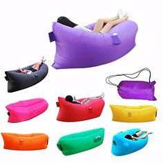 Topie Inflatable Lounger Air Filled Balloon Furniture, Hangout Bean Bag, Outdoor or Indoo Sleeping Sofa, Couch, Portable Furniture Waterproof Compression Sacks for Camping Beach Park Backyard (Purple) - $59.89