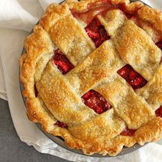 Tangy, tart and sweet strawberry rhubarb pie filling with a sugar-sparkled all-butter lattice pie crust. A classic pie recipe for springtime.