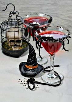 This vampire cocktail is fun and fruity with a whimsical licorice spider garnish. Learn how to make the drink and the garnish at Always The Holidays #halloweendrink #vampirecocktail #spookydrinks Halloween Themed Food, Halloween Cocktails, Halloween Food For Party, Fun Cocktails, Fun Drinks, Cranberry Cocktail, Cocktail Garnish, Bloody Mary Cocktail Recipe, Edible Eyes
