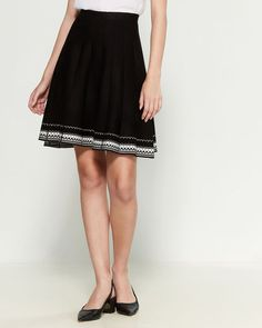 Shop at Century 21 for shoes, clothing, jewelry, dresses, coats and more from top brands with trendy styles. Fit And Flare Skirt, Border Pattern, Female Models, Trendy Fashion, Black And White, Lady, Coat, Fitness, Skirts