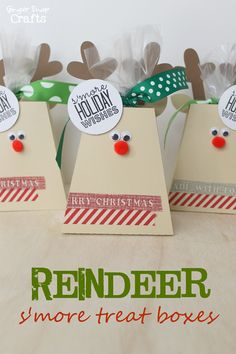 S'more #Rudolph Reindeer Treat Box tutorial! Adorable way to wrap any holiday giftables!