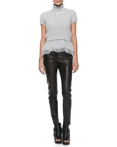 Short-Sleeve Cashmere and Tulle Top 2335$ & Leather Skinny Pants by Brunello Cucinelli at Neiman Marcus.