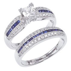 14K White Gold Diamond and Sapphire Vintage Wedding Set.    http://www.thediamondstore.com/products/engagement-rings/14k-white-gold-vintage-wedding-set-%7C-cmbr1388/6-923