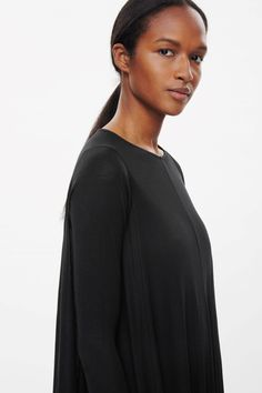 COS image 3 of Draped jersey dress in Black