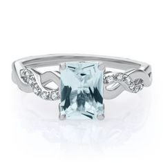 Aquamarine & Lab-Created White Sapphire Ring In Sterling Silver – Helzberg Diamonds