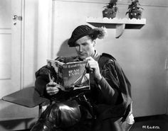 "Author Errol Flynn plugs his first book on the set of ""The Prince and the Pauper"""