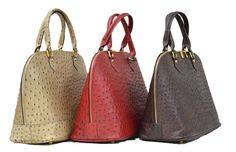 Caracol - Inspired Jewelry and Handbags - Italian Calfskin Leather Ostrich Print Handbag by Moda and Pielle Fall Handbags, Stylish Handbags, Italian Leather Handbags, How To Make Handbags, Bucket Bag, Purses, Saddles, Inspired, Colors
