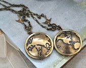 YOU COMPLETE My WORLD  vintage brass locket necklace with globe set of 2