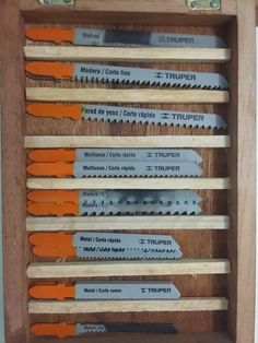 Woodworking Jigsaw Father-Son Project - Jigsaw Blades Case by Legorreto - Woodworking Jigsaw, Woodworking Projects, Best Jigsaw, Tool Bench, Scrap Wood Projects, Good Grips, Father And Son, Blade, Benches