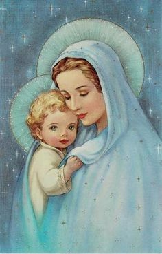 Vintage Mary and Baby Jesus in Blue 8x10 by BellaStitcheryDesign
