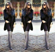 Overknee boots outfit, grey overknees, black coat, faux fur collar jacket outfit, black outfit