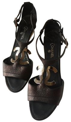 dba9db9ed Chanel Black Leather T-strap Interlocking Silver Cc Logo Wedge (39.5) Sandals  Size EU 39.5 (Approx. US 9.5) Regular (M