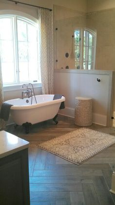 Herringbone bath floors