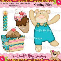 Beary Birthday Paper Piecing Pattern, Cutting File, Scrapbook, Silhouette Studio, SVG File, MTC, SCAL, Peek A Boo Designs