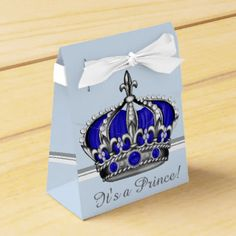 blue silver crown prince boy baby shower party favor box