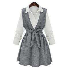 Chic Shirt Collar Long Sleeve Blouse + Bowknot Design Dress Women's Twinset