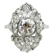 1920s Art Deco Filligree Diamond Platinum Ring 1.78 Carats | http://www.1stdibs.com/jewelry/rings/engagement-rings/