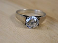 Vintage Solitaire Cubic Zirconia Sterling Silver Ring, Silver Band Ring, CZ Solitaire Silver Wide Band Ring Sz 9, Vintage Silver Ring by DoubleDeckerVintage on Etsy