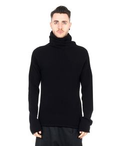 LOST&FOUND MAN Black sweater turtleneck long sleeves asymmetric hem 67% CO 25% WO 8% WA