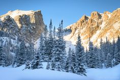 A calm morning with bluebird skies following a winter snowstorm near Dream Lake, Rocky Mountain National Park.