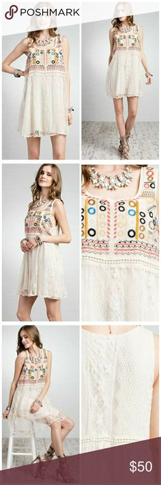 """💕Host Pick Lace Embroidered Dress/Tunics Sleeveless embroidery lace dress with lining, CAN BE WORN AS A DRESS OR TUNIC. For colder months layer it over a long sleeve blouse or turtleneck. warmer months, alone works great. 80% cotton, 20% nylon. Size S= 4-6, M=8-10, L=12. My model is 5'3"""", 36D wearing a M. Original photos. Pls do not copy. Dresses"""