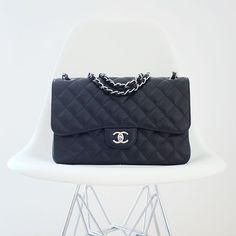 Bag is on repeat: chanel jumbo classic flap caviar silver hardware SHW, yasmin_dxb instagram