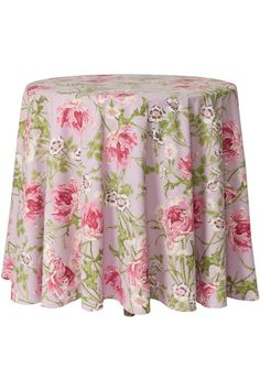 """The Rose Nouveau table cloth by April Cornell is incredibly beautiful. This one is in a light dusty lavender scheme color called """"Orchid"""". The pattern was delicately drawn by hand and masterfully created. It is wistful and nostalgic and utterly romantic. The light sage and dusty pink colors bloom over the clearly romantic dusty lavender Orchid background giving your dining room a fresh and feminine look. The round tablecloth measures 88"""" across.  Rose Nouveau Tablecloth by April Cornell…"""