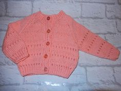 hand knitted baby cardigan / hand knit girls sweater / peach