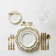 Aqua Sky & Gold Anna Weatherley Charger + White & Gold Anna Weatherley Dinnerware + Gold Chateau Flatware + Czech Crystal Stemware | Casa de Perrin Design Presentation