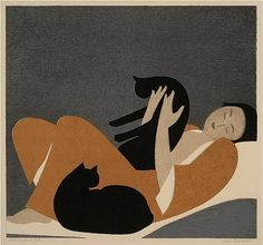 woman and cats, 1962. will barnet