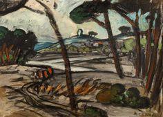 Auguste CHABAUD (1882-1955) Paysage aux pins Huile sur carton. Signée en bas à droite. 38 x 52,5 cm. Ces tableaux ont été authentifiés sur photographie et figureront au catalogue raisonné établi par Monsieur… - Chayette & Cheval - 17/03/2017