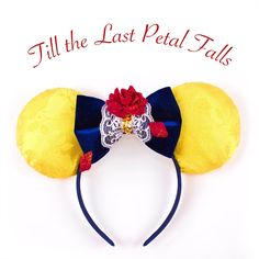 These Belle and Beast ears are inspired by Disney's Beauty and the Beast. The ears are made with jacquard rose satin, covered in sparkle tulle to add a Belle touch to the ears. The bow is made using n
