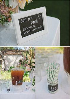 chalk board drink signs - striped straws, for pre-ceremony Diy Your Wedding, Perfect Wedding, Wedding Ideas, Garden Party Decorations, Wedding Decorations, Mojito, Fresco, Ginger Lemonade, Wedding Mint Green