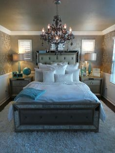 Guest room remodel still in progress. Enhance your home decor with this elegant Celine 5-piece mirrored and upholstered tufted queen-size bedroom set. This set features mirrored panels and includes a queen-size bed, two nightstands, one dresser and one mirror.  #MercerChandelier #roberthurtado