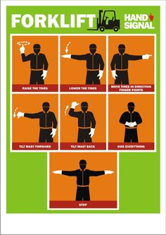 Forklift Hand Signals Poster - a chart of various hand signals which are used to communicate with forklift operators while handling materials. Lifting Safety, Safety Fail, Safety Rules, Health And Safety Poster, Safety Posters, Safety Pictures, Workplace Safety Tips, Safety Inspection, Warehouse Management