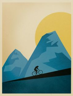 bike, mountain, sun, go