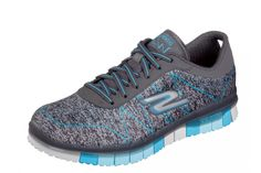 734214897 Skechers Go Flex Ability Charcoal Turquoise Women s Comfort Trainers
