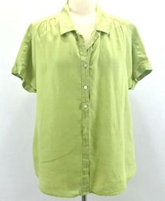 7d3eccf3b2 J. Jill Womens Button Down Shirt 100% Linen XL Green Short Sleeve  JJill