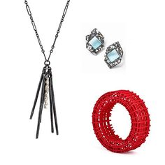Spring is here, which means more visible accessories! This poppy red 3D printed Square Cage Bangle by @mariaeife looks great with @ettakostickjewelry Crushed Gemstone Earrings in blue and Oxi Fringe Necklace by @skeltonjewelry All these and more available in our online shop! Link in profile. #springfashion #contemporaryjewelry #bangle #instasmithy #instajewelry #artistmade #artjewelry  #lillstreetgallery