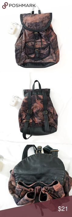 Urban Outfitters Acid Wash Front Flap Backpack Urban Outfitters Acid Wash Front Flap Drawstring Backpack  * Worn once, in new condition; no defects * Color: Rust/Purple Acid Wash with Black & Gold accents * Front flap + drawstring for opening Urban Outfitters Bags Backpacks