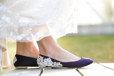 Wedding Shoes - Purple Wedding Shoes/Purple Wedding Flats with Ivory Lace. US Size 11