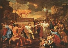 """Aaron and the Golden Calf. BIBLE SCRIPTURE: Exodus 32:6, """"And they rose up early on the morrow, and offered burnt offerings, and brought peace offerings; and the people sat down to eat and to drink, and rose up to play."""""""