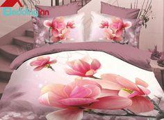 Graceful Pink #Magnolia Print Polyester 4-Piece Duvet Cover Sets #beddingsets #3dbedding #floralbedding