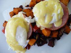 Paleo* Eggs Benedict Over Spicy Sweet Potato Hash