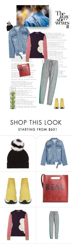 """""""Sporty Chic for Tuesday"""" by shoptillyadrop ❤ liked on Polyvore featuring Prada, Steve J & Yoni P, Balenciaga, Gucci, Marni, Monse, StreetStyle, chic, denim and sporty"""