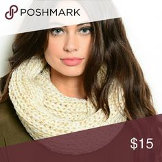 It's here for fall! Knit Beige Infinity Scarf It's here! Knit beige scarf with gold accents perfect for Fall and Winter. Neutral to go with any outfit! Accessories Scarves & Wraps