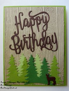 - Happy Birthday Thinlits, Card Front Builder Thinlits, and Pinewood Planks embossing folder. Men's Cards, Diy Cards, Stampin Up Cards, Birthday Blast, Card Birthday, Birthday Cards For Women, Handmade Birthday Cards, Fall Cards, Christmas Cards