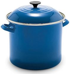 Le Creuset Enameled Steel Stock Pot Beautiful and practical, Le Creuset enamel-on-steel stock pots are truly the perfect addition to any kitchen. made of heavy gauge carbon steel tight-fitting lid seals in every precious drop of flavo