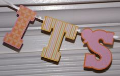 It's A Girl Baby Banner Letter Banner  Pink by APaperPlayground, $10.00