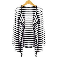 Striped Open Front Cardigan